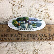 Vintage 40s Hand Painted Brooch Pin Niagara Falls Souvenir MOP Jewelry Honeymoon