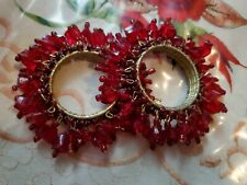 Gorgeous Vntge 2pc Beaded Deep Red Lucite Napkin Rings Romantic Dinner Tableware