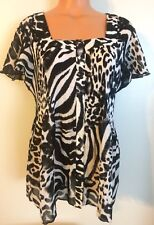 •• Women's Plus Size 2X Sere Nade Blouse Crinkle Button Down Shirt SS  Nice!