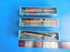 RAPALA , 7 IN. FLOATING LURES, LOT OF 3 , BALSA WOOD, NEW OLD STOCK,OPEN BOXES