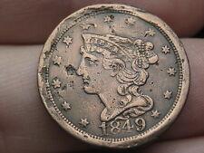 1849 Braided Hair Half Cent- Fine/VF Details