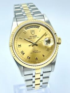 Tudor Prince Date Day 76213 Two Tone Gold Champagne Roman Dial 36mm Automatic