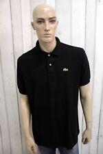 LACOSTE Uomo Polo 6 Nero Taglia 2XL Cotone T-Shirt Casual Maglietta Manica Corta