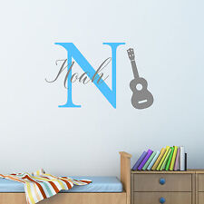 Personalised Guitar Music Wall Sticker Decal Children Boys Nursery Bedroom