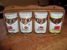 Vintage Spice Rack Jar Set -- 4 Black Americana Chefs -- Japan