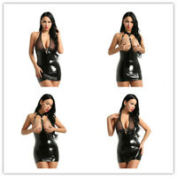 Sexy Women Bodycon Dress Clubwear Wetlook Leather Lady Mini Skirt Party Cocktail