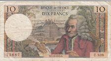 Billet banque 10 Frs VOLTAIRE 07-12-1972 R U.839 état voir scan