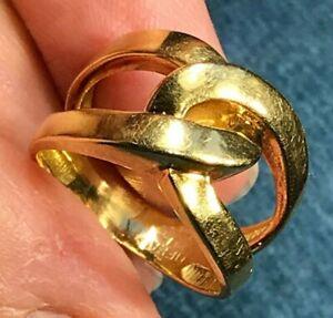"SG MERMAID 14k Yellow Gold TIFFANY Love Knot Ring. 1/2"" Wide. Heavy 6.6g--K3L24J"