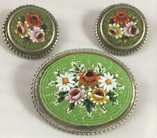 Vintage Italian Italy Micromosaic Red Pink White Green Oval Pin Earring Set