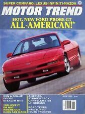 Motor Trend Magazine June 1992 Lexus, Infiniti, Mazda, Ford Probe GT