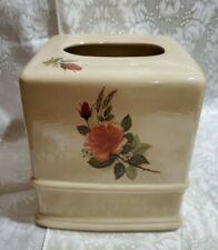 """New listing Ceramic Tissue Box Cover Bathroom Vintage Look antique cream peach roses 6""""x6""""x6"""