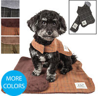 Touchdog 2-in-1 Matching Windowpane Plaided Dog Coat and Designer Dog Bed Mat