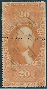 DR JIM STAMPS US SCOTT R98 $20 CONVEYANCE USED NO RESERVE HOLES