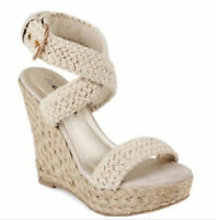 Retro Womens Braided Wedge High Heels Ankle Cross Strap Celebrity Roman Sandals