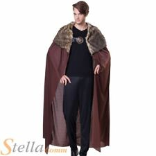 Mens Deluxe Brown Cape Cloak Plush Collar Medieval Viking Fancy Dress Costume