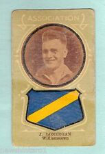 1930s AUSTRALIAN LICORICE FOOTBALLERS  CARD - J. LONERGAN, WILLIAMSTOWN