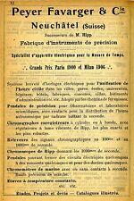 Peyer Favarger & Cie. suisse instrument de précision historique publicitaires 1907