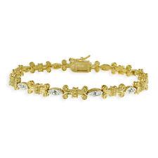18K Gold on Silver Diamond Accent Scroll Bracelet