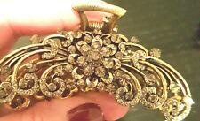 """NEW Art Deco Gold Smoke Crystal Rhinestone 3"""" Hair Claw Clip"""