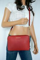NWT Michael Kors Jet Set East West Saffiano Leather Crossbody Bag Red Scarlet