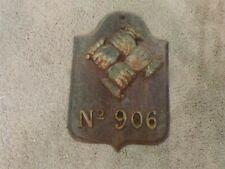 """VINTAGE No. 906 Cast Iron Fire Insurance Marker Plaque 11""""x7.75"""""""