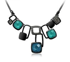 Designer Blue Green Austria Crystal Stone Black Chain Necklace Pendant Jewellery