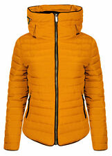 New Ladies Fur Collar Quilted Padded Puffer Bubble Warm winter Thick Jacket Coat