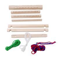 Child DIY Wooden Handloom Developmental Toy Yarn Weaving Knit Shuttle Loom BL