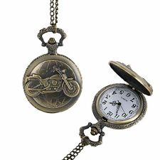 Motorcycle Retro Pocket Watch Pendant Necklace Jewelry