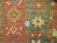 Antique Moghan Kazak Caucasian Rug W/Green 3 Rows Of Memling Guls Circa 1880