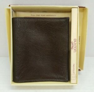 Vintage Buxton Two Fold Wallet Brown with Inserts and Box