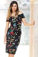 BNWT NEXT Black Floral Body Con Bardot Dress Size 8 Petite