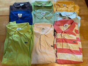 Lacoste Mens Sz 8 Lot Of 9 Short Sleeve Polo Shirts Cotton A03