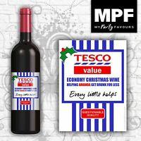 Personalised Christmas 'Tesco' Wine Bottle Label -  Funny Novelty Gift