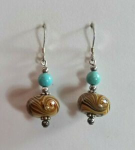 """Sterling Silver Earrings Turquoise MultiColor Marbled Art Glass 1.6"""" 7g 925 #682"""
