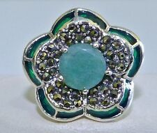 GENUINE! 2.12cts Zambian Emerald, Marcasite & Enamel Ring Solid S/Silver 925!