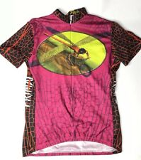 Primal Womens Large Cycling Jersey Shirt Dragonfly Insect Bug Purple Race Shirt