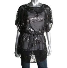 AQUA Black Sheer Sequined Elastic Waist Blouse Top S Small
