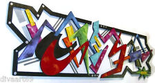 Large Geometric Funky Abstract Art Wood & Metal Wall Sculpture Unique & Vibrant