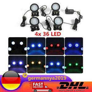 4x 36 LED Unterwasserbeleuchtung Unterwasser Aquarium Weiß/RGB Teich Spot Light