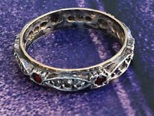 Antique Art Deco Size S eternity ring 9ct gold and silver Ruby Diamond Paste