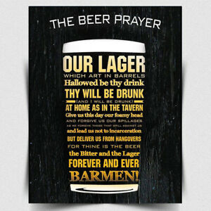 BEER PRAYER METAL SIGN WALL PLAQUE Lager Retro funny drinking sign bar man cave