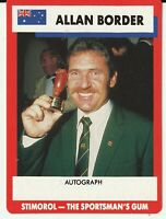 "Cricket Legend - Allan Border - Stimorol Gum Trading Card ""Nice Condition"""