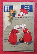 CPSM. Petites Filles en Robe Rouge. Parapluie. Charmant.