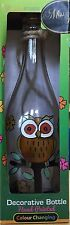HAND PAINTED STAINED GLASS BOTTLE SOLAR LANTERNS - OWL