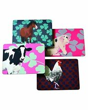 Table mats set of 4 Leslie Gerry Cow Pig chicken horse Colourful farming Gift