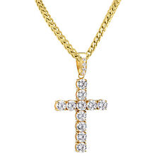 "Solitaire Cross Pendant 14k Gold Finish Franco Chain 36"" Stainless Steel Set Men"