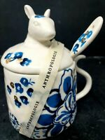 Anthropologie Elise Mouse Sugar Dish With Spoon Blue Floral Design