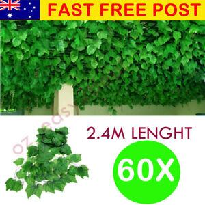 60X 2.4M Artificial Ivy Leaf Vine Plant Garland Fake Foliage Wedding Party AU