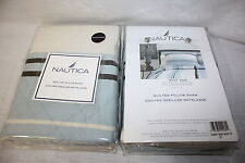 2 Nautica West End standard Bed Pillow shams case set blue white brown quilted